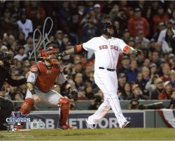 David Ortiz Boston Red Sox 2013 World Series Champions Autographed 8'' x 10'' Home Run Swing Photograph - Mounted Memories