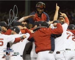 David Ortiz Boston Red Sox 2013 World Series Champions Autographed 8'' x 10'' Team Celebration Photograph - Mounted Memories