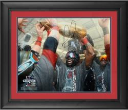 "David Ortiz Boston Red Sox 2013 World Series Champions Framed Autographed 16"" x 20"" Champagne Photograph"