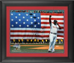"David Ortiz Boston Red Sox 2013 World Series Champions Framed Autographed 16"" x 20"" Flag Photograph with Boston Strong This Is Our F'N City Inscription - Limited Edition of 34"