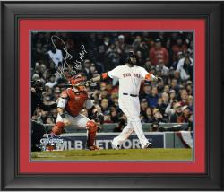 "David Ortiz Boston Red Sox 2013 World Series Champions Framed Autographed 16"" x 20"" Home Run Swing Photograph with 2013 WS MVP Inscription"