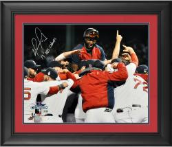 "David Ortiz Boston Red Sox 2013 World Series Champions Framed Autographed 16"" x 20"" Team Celebration Photograph with 2013 WS Champs Inscription"