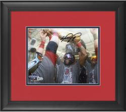 "David Ortiz Boston Red Sox 2013 World Series Champions Framed Autographed 8"" x 10"" Champagne Photograph"
