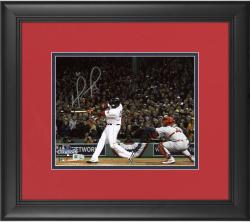 "David Ortiz Boston Red Sox 2013 World Series Champions Framed Autographed 8"" x 10"" Home Run Swing 2 Photograph"
