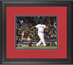 "David Ortiz Boston Red Sox 2013 World Series Champions Framed Autographed 8"" x 10"" Home Run Swing Photograph"