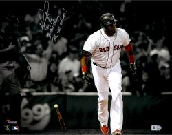 "David Ortiz Boston Red Sox Autographed 11"" x 14"" Bat Drop Spotlight Photograph with Multiple Inscriptions"