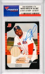 David Ortiz Boston Red Sox Autographed 2005 Bowman #15 Card with Game Used Bat Piece
