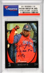 David Ortiz Boston Red Sox Autographed 2011 Bowman #119 Card with This Is Our F'N City Inscription