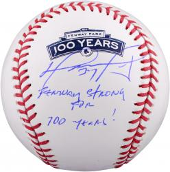 David Ortiz Boston Red Sox Autographed Fenway 100th Anniversary Baseball with Fenway Strong for 100 Years Inscription