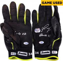 David Ortiz Boston Red Sox Autographed Game-Used Franklin Black and Yellow Pair of Batting Gloves with Game Use Inscription