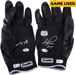 David Ortiz Boston Red Sox Autographed Game-Used Franklin Black Pair of Batting Gloves with Game Use Inscription