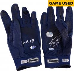 David Ortiz Boston Red Sox Autographed Game-Used Franklin Blue Pair of Batting Gloves with Game Use Inscription