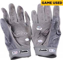 David Ortiz Boston Red Sox Autographed Game-Used Franklin Grey Pair of Batting Gloves with Game Use Inscription