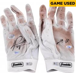 David Ortiz Boston Red Sox Autographed Game-Used Franklin White and Red with Clay Stained Palms Pair of Batting Gloves with Game Use Inscription