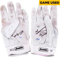 David Ortiz Boston Red Sox Autographed Game-Used Franklin White Pair of Batting Gloves with Game Use Inscription