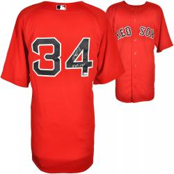 David Ortiz Boston Red Sox Autographed Majestic Authentic Red Jersey with 13 WS MVP Inscription - Mounted Memories