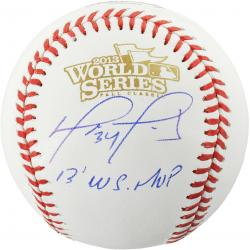 David Ortiz Boston Red Sox 2013 World Series Champions Autographed World Series Logo Baseball with 2013 WS MVP Inscription - Mounted Memories