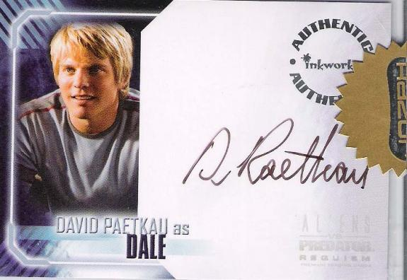 "DAVID PAETKAU ""ALIENS VS PREDATOR: REQUIEM"" Signed Certified INKWORKS CARD"