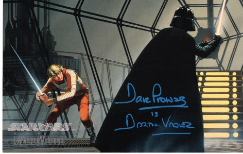 """DAVID PROWSE as DARTH VADER in the Original """"STAR WARS"""" Trilogy - Signed 6.5x10.25 1995 STAR WARS TOPPS MASTER VISIONS COLLECTOR CARC"""