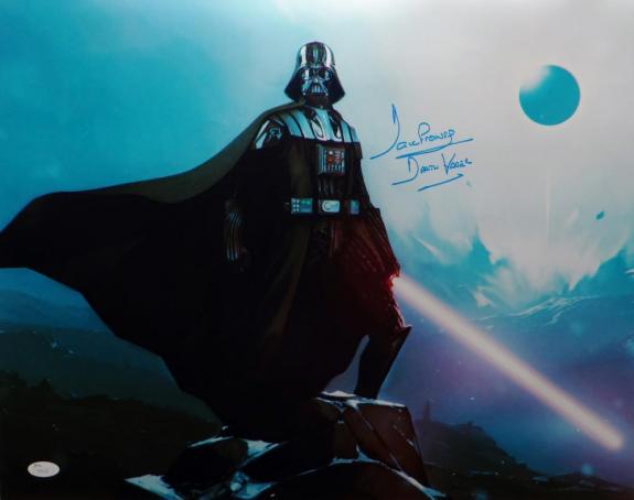David Prowse Darth Vader Signed Star Wars 16x20 Standing On Rock Photo- JSA Auth