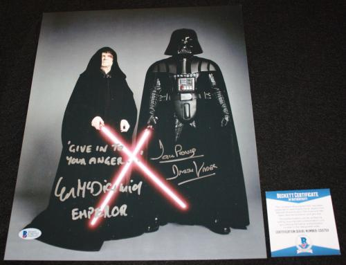 David Prowse Ian Mcdiarmid signed 11 x 14, Star Wars, SITH, Beckett BAS
