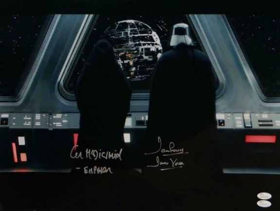 David Prowse/ Ian McDiarmid Signed Star Wars 16x20 with Death Star - JSA W Auth