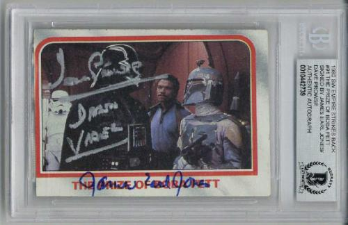 David Prowse James Earl Jones Signed 1980 Topps #91 Star Wars Rare Beckett Bas