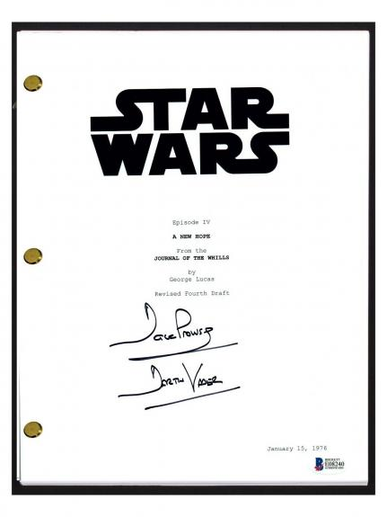 David Prowse Signed Autograph STAR WARS A NEW HOPE Movie Script Beckett BAS COA