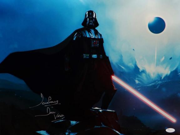 David Prowse Signed Darth Vader Star Wars 16x20 Standing On Rock Photo- JSA Auth