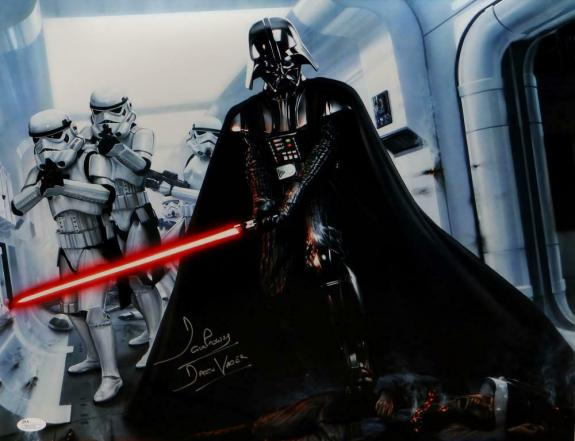 David Prowse Signed Star Wars 16x20 Darth Vader W/ Stormtroopers Photo- JSA Auth