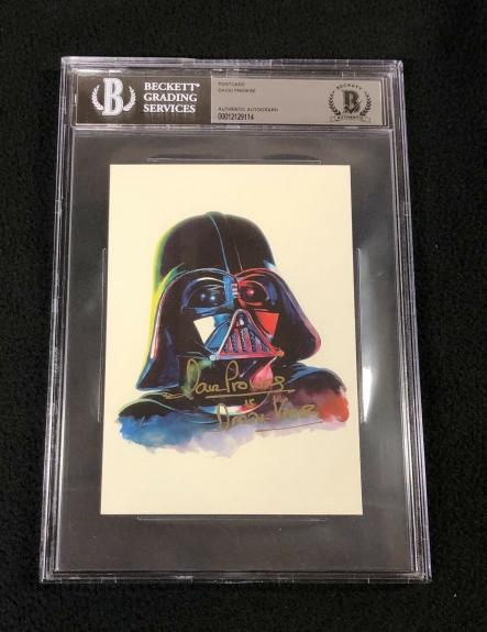 David Prowse Signed Star Wars Darth Vader Postcard #2 Beckett Authenticated