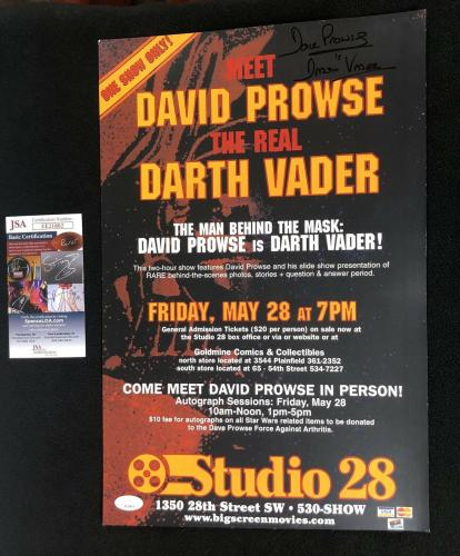 David Prowse Signed Star Wars Darth Vader Public Appearance 11x17 Poster JSA COA