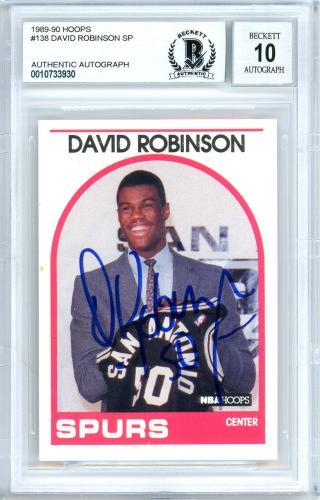 David Robinson Autographed 1989-90 Hoops Rookie Card Gem 10 Beckett 10733930