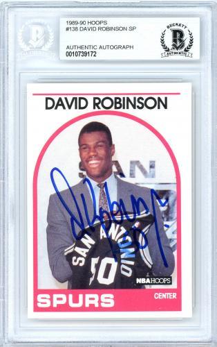 David Robinson Autographed 1989-90 Hoops Rookie Card Spurs Beckett 10739172