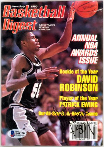 David Robinson Autographed Basketball Digest Magazine Spurs Beckett #B61270