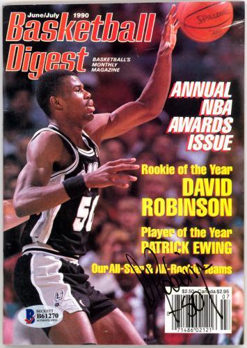 David Robinson Autographed Basketball Digest Magazine Spurs Beckett #B61270