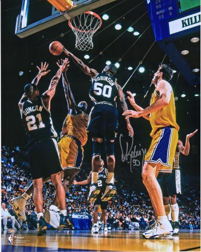 "David Robinson San Antonio Spurs Autographed 16"" x 20"" Block vs. Los Angeles Lakers Photograph"
