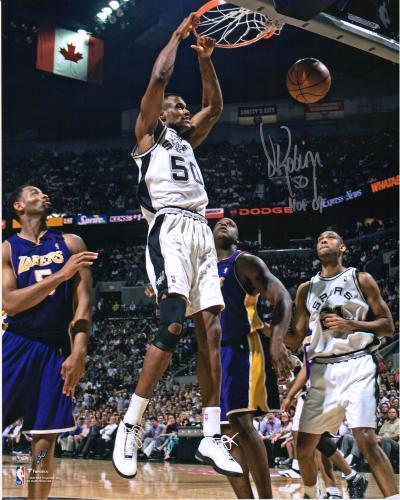 "David Robinson San Antonio Spurs Autographed 16"" x 20"" Dunk vs. Los Angeles Lakers Photograph with ""HOF 09"" Inscription"