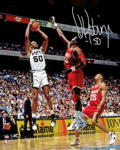 "David Robinson San Antonio Spurs Autographed 16"" x 20"" Shot vs. Houston Rockets Photograph"