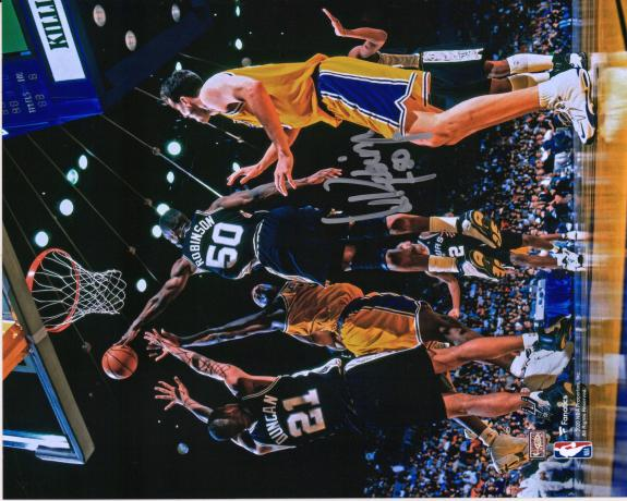 "David Robinson San Antonio Spurs Autographed 8"" x 10"" Block vs. Los Angeles Lakers Photograph"