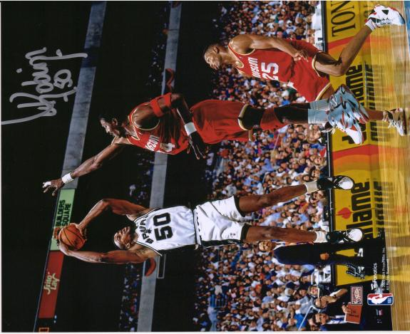 "David Robinson San Antonio Spurs Autographed 8"" x 10"" Shot vs. Houston Rockets Photograph"