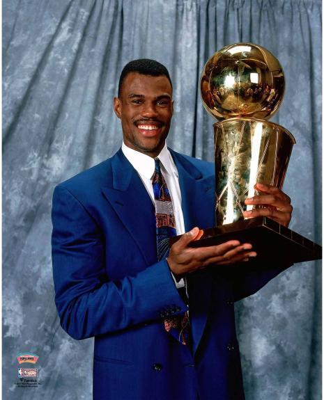 David Robinson San Antonio Spurs Unsigned Holding NBA Final Trophy Post Game Portrait Photograph
