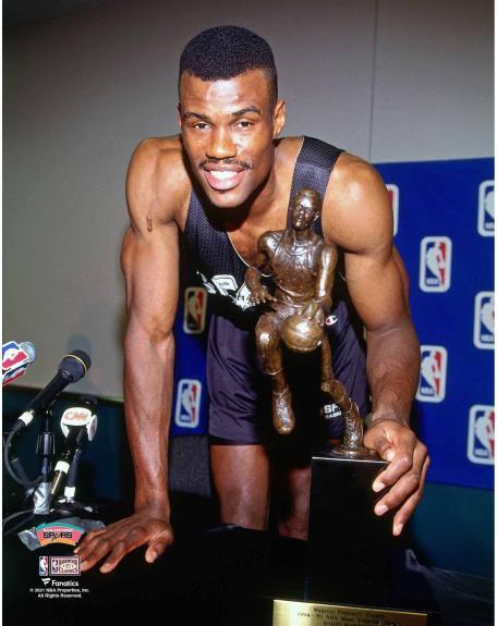 David Robinson San Antonio Spurs Unsigned with 1994-95 MVP Trophy Photograph