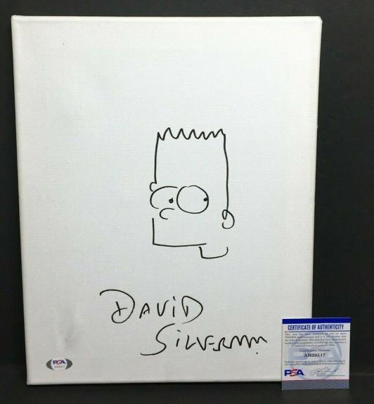 David Silverman Signed 11x14 Canvas 'w/ Bart Simpson Sketch *Simpsons PSA 0517