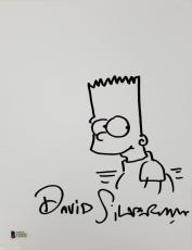 DAVID SILVERMAN Signed 8.5 x 11 Hand Sketch The Simpsons Bart w/ Beckett BAS COA
