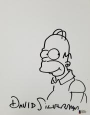 DAVID SILVERMAN Signed 8.5 x 11 Hand Sketch The Simpsons Homer Beckett BAS COA