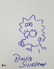 DAVID SILVERMAN Signed 8.5 x 11 Hand Sketch The Simpsons Maggie Beckett BAS COA