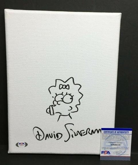 David Silverman Signed 9x12 Canvas 'w/ Maggie Simpson Sketch *Simpsons PSA 0514