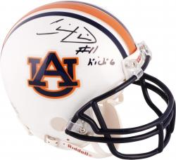 Chris Davis Auburn Tigers Autographed Riddell Mini Helmet with Kick 6 Inscription - Mounted Memories