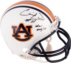 Chris Davis Auburn Tigers Autographed Riddell Mini Helmet with War Eagle Inscription - Mounted Memories